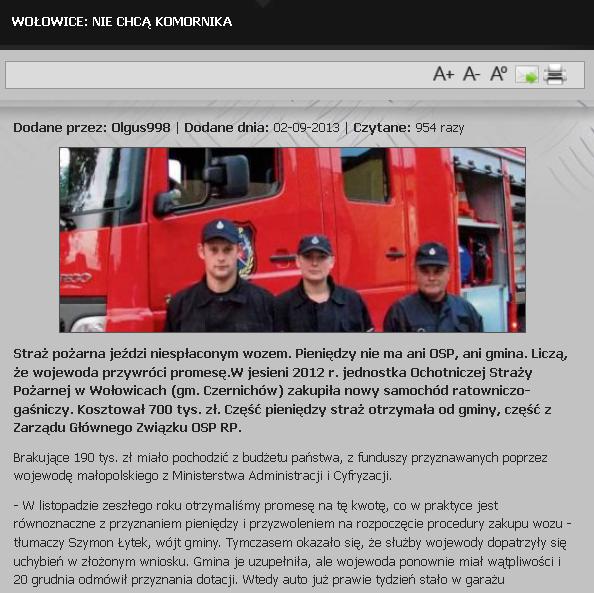 Wołowicka straż zagrożona komornikiem